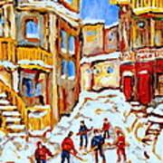 Hockey Art Montreal City Streets Boys Playing Hockey Poster
