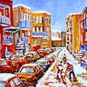 Hockey Art Streets Of Montreal Hockey Paintings Poster