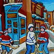 Hockey Game Corner Clark And Fairmount Wilenskys Paintings Poster by Carole Spandau