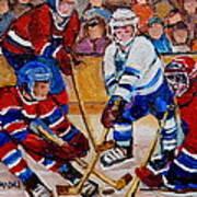Hockey Game Scoring The Goal Poster by Carole Spandau