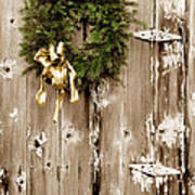 Holiday Wreath On The Farm Poster