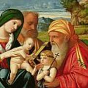 Holy Family With St. Simeon And John The Baptist Poster