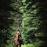 Horseback Riding On An Emerald Lake Poster