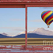 Hot Air Balloon And Longs Peak Red Rustic Picture Window View Poster