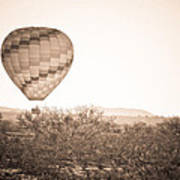 Hot Air Balloon On The Arizona Sonoran Desert In Bw  Poster