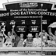 Hotdog Eating Contest Time In Black And White Poster