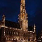 Hotel De Ville De Bruxelles At Night Poster