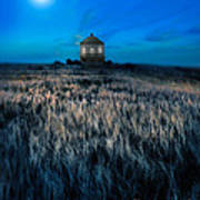 House On The Prairie Under A Full Moon Poster
