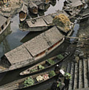 Houseboats Line A Waterway Poster