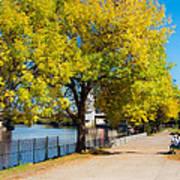 Hudson Riverside Autumn Scenery In Troy  New York Poster