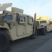 Humvees Sit On The Pier At Morehead Poster