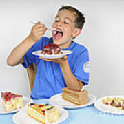 Hungry Boy Eating Lot Of Cake Poster