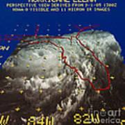 Hurricane Elena In 3-d Poster