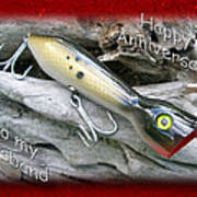 Husband Anniversary Card - Saltwater Fishing Lure - Popper Poster