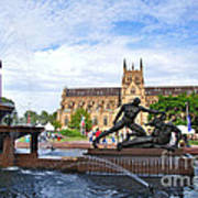 Hyde Park Fountain And St. Mary's Cathedral Poster