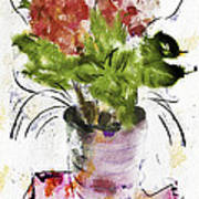 Hydrangea In A Pot Watercolor Poster
