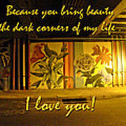 I Love You Night Graffiti Greeting Card Poster