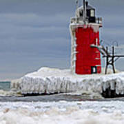 Icy South Haven Mi Lighthouse Poster