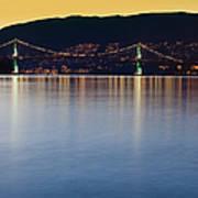 Illuminated Bridge Across A Bay Poster by Bryan Mullennix