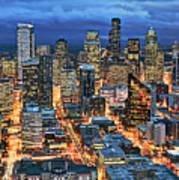 Illuminated Of Downtown Seattle Poster