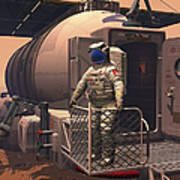 Illustration Of An Astronaut Leaving Poster by Walter Myers