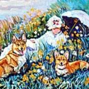 In The Field With Corgis After Monet Poster