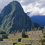 Inca Structures Stand Below Mount Poster