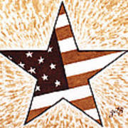 Independence Day Star Usa Flag Coffee Painting Poster by Georgeta  Blanaru