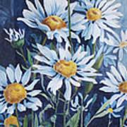 Indigo Daisies Poster by Yvonne Scott