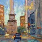 Indy Monument At Twilight Poster by Donna Shortt