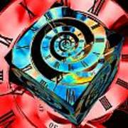 Infinity Time Cube Blue On Red Poster