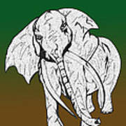 Inked Elephant In Green And Brown Poster