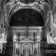 Inside St Louis Cathedral Jackson Square French Quarter New Orleans Black And White Poster