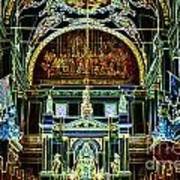 Inside St Louis Cathedral Jackson Square French Quarter New Orleans Glowing Edges Digital Art Poster