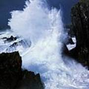Ireland, Waves Crashing On Rocks Poster