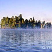Island In Lake With Morning Fog Poster