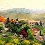 Italian Hillside Village Oil Painting Poster