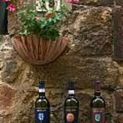 Italian Wine And Flowers Poster