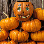 Jack-o-lantern On Stack Of Pumpkins Poster