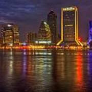 Jacksonville At Night Poster by Debra and Dave Vanderlaan