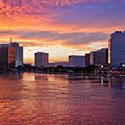 Jacksonville Skyline At Dusk Poster by Debra and Dave Vanderlaan