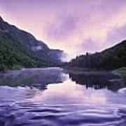 Jacques-cartier River And Mist At Dawn Poster