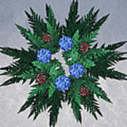 Jammer Blue Red Snow Wreath Poster
