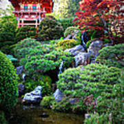 Japanese Garden With Pagoda And Pond Poster