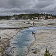 Japanese Woman With Umbrella At Norris Geyser Basin Poster