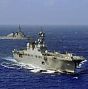 Jds Hyuga Sails In Formation With U.s Poster