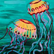 Jellyfish In Green Water Poster
