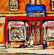 Jewish Montreal Vintage City Scenes De Bullion Street Cobbler Poster