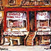 Jewish Montreal Vintage City Scenes Indigs Kosher Butcher Poster