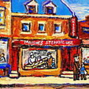 Jewish Montreal Vintage City Scenes Moishes St. Lawrence Street Poster
